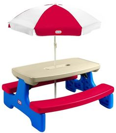Amazon.com: Little Tikes Easy Store Jr. Play Table with Umbrella ...