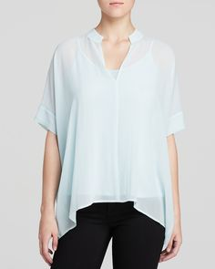 Eileen Fisher Mandarin Collar Silk Top | Bloomingdale's