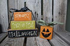 Primitive HaLlOwEeN Stacker Block Set (pumpkin sold seperately) -  Fall autumn halloween primitive country wood block set. $17.95, via Etsy.