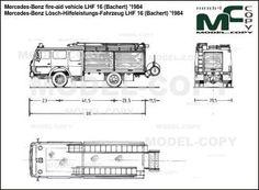 Mercedes-Benz fire-aid vehicle LHF 16 (Bachert) '1984 - blueprints (ai, cdr, cdw, dwg, dxf, eps, gif, jpg, pdf, pct, psd, svg, tif, bmp)