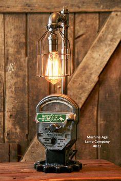 Steampunk Industrial, Antique Parking Meter Lamp #821