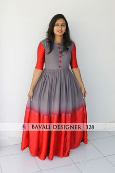 👉🏻 Designer Flair Georgette Gown with Glitter Flower Work on Yoak by Baval. by Designer - India Simple Gown Design, Long Dress Design, Dress Neck Designs, Blouse Designs, Designer Anarkali Dresses, Designer Gowns, Designer Kurtis, Long Gown Dress, Saree Dress