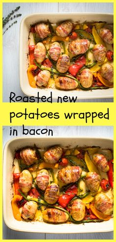 Roasted new potatoes wrapped in smoked bacon served on a bed of roasted vegetables.