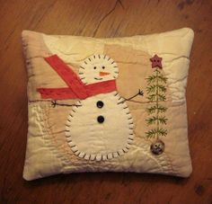 Primitive Small Folk Art Snowman Christmas Pine Tree Pillow from Old Quilt