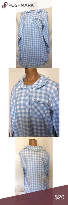 Victoria's Secret Blue/White Plaid Nightgown Super cute, very small stain on back of the neck (4th pic). Great condition. 100% cotton. Victoria's Secret Intimates & Sleepwear Pajamas