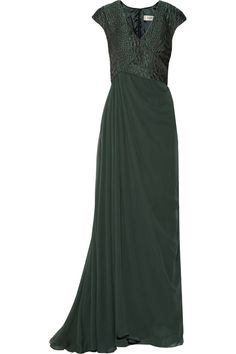 BADGLEY MISCHKA Snake-effect brocade and silk-chiffon gown £349.09 http://www.theoutnet.com/products/532587