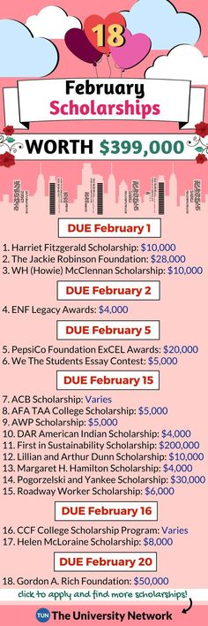 Scholarships Here is a selected list of February 2018 Scholarships.Here is a selected list of February 2018 Scholarships. College Life Hacks, School Hacks, College Tips, College Checklist, College Dorms, Dorm Life, Kendall College, College Attire, College Ready