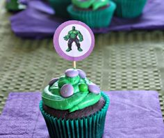 candy topped hulk cupcakes