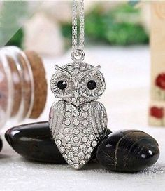 8GB pendant Owl crystal necklace Model USB Flash drive 2.0 pen stick memory