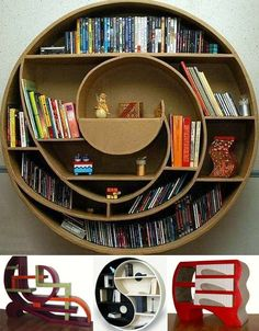 Spiral punctuation book shelves
