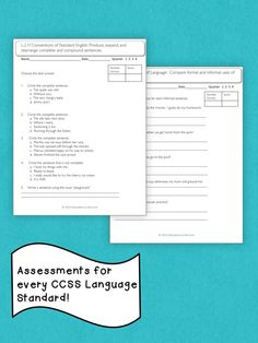 ELA language arts assessment for each standard.  Prepare your kids for CCSS testing this spring. $