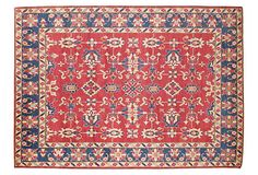 """One Kings Lane - One-of-a-Kind Style - 8'5""""x12'3"""" Kazak Rug, Red/Blue/White"""