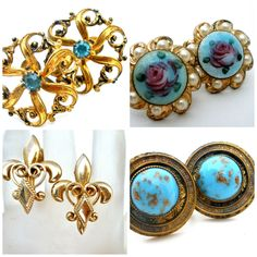 Lot Of Earrings 4 Pair Screwback Rhinestones Guilloche Enameling Fleur de Lis  #Screwback