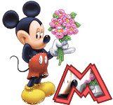 Alfabeto tintineante de Mickey con ramo de flores.