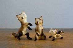 Miniature Bone China Fox Family Figurines - Shiken, Japan