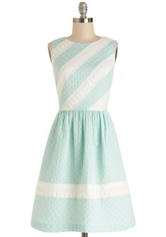 Pastel Me Something Good Dress. Youre feeling good and ready to take on the day on this charming fit-and-flare dress! #mint #modcloth