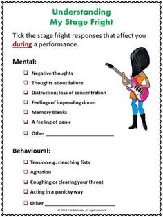 This is a 26 page PDF file focusing on Performance Anxiety or Stage Fright. Information and student response sheets