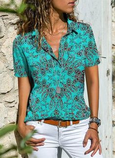 Solid Casual Collar Short Sleeve Blouses Weafall fashion trends Tights,fall fashion trends New,fall fashion trends Ralph Lauren,fall fashion trends Sweaters, Latest Fashion For Women, Latest Fashion Trends, Fashion 2018, Fashion Online, Outfits With Hats, Blouse Styles, Free Clothes, Women's Fashion Dresses, Fashion Blouses