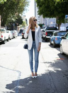 Pinstripe Blazer, Mom Jeans and White Pumps