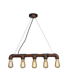 At The First Glance It Has A Rusty Pipe Shape Holder With Five Bulbs