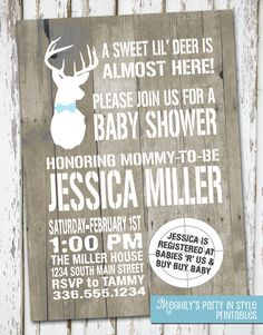 Hunting Theme - Sweet Lil' Deer - Baby Shower Invitation on Etsy, $10.00