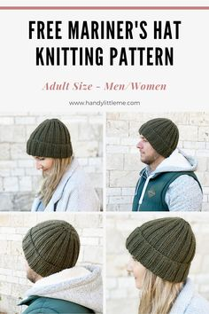 This ribbed beanie knitting pattern is a really easy knit, making a ribbed mariner's hat for a man or woman to wear. Easy Knit Hat, Knit Hat For Men, Knitted Hats, Beginner Knitting Projects, Knitting For Beginners, Start Knitting, Knitting Stitches, Knitting Machine, Knit Or Crochet