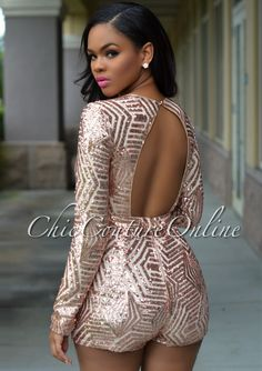 Chic Couture Online - Morris Rose Gold Sequins Plunging V-Neck Romper, (http://www.chiccoutureonline.com/morris-rose-gold-sequins-plunging-v-neck-romper/)