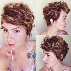 Short hair with highlights.