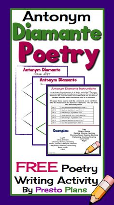 The resource includes detailed instructions for how to write an Antonym Diamante poem as well as a sheet for a rough draft and a good copy.