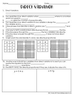 Direct Variation Notes by To the Square Inch- Kate Bing Coners | Teachers Pay Teachers