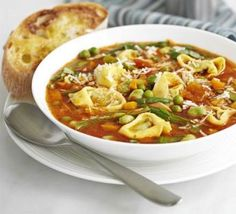 Hearty pasta soup recipe, Do something different with a pack of tortellini. This filling soup is full of fibre, low fat and full of veg. The perfect lunch or supper Best Soup Recipes, Bbc Good Food Recipes, Pasta Recipes, Vegetarian Recipes, Dinner Recipes, Cooking Recipes, Healthy Recipes, Vegetarian Soup, Kraft Recipes