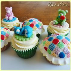 Todays cakes. Vanilla cupcakes with hand made decorations, all edible. Hope you like them.