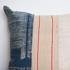 Boho Vintage Hemp Indigo Batik Pillow from the H'mong People of Northern Vietnam.