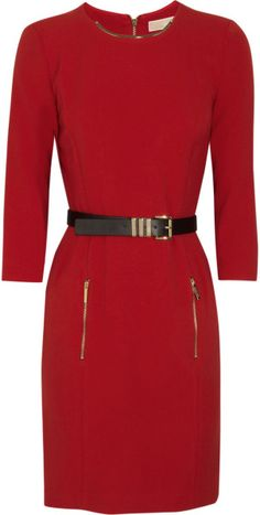 299a46fe00c Michael By Michael Kors Belted Stretchcrepe Dress in Red - Lyst Polka Dot  Blouse, Polka