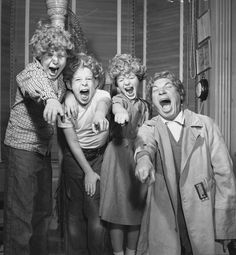 Harpo Marx with his children, Alec Jimmy and Minnie. (1954)