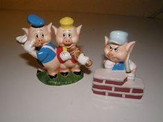 Vintage Disney Three Little Pigs Salt Pepper Shaker Set New England Collector