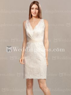 Casual short Lace bridal gown accented with a V-neck and sexy plunging V-back, natural waist is adorned with a belt.
