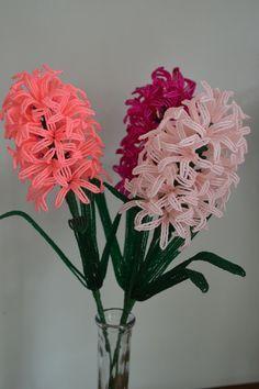 NEW* Handmade french beaded flowers Hyacinth Neon Pink, Neon Rosealine, Fuchsia