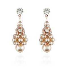 Pearl Cluster Earrings with Crystal Accents