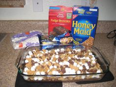 S'mores Brownies - Bake brownies 14 min, add choc. chips, marshmallows and broken graham crackers - Bake an additional 10 min. or until marshmallows are golden