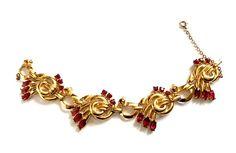 Coro Craft Sterling Bracelet Vintage 1940s Gold Plated Link
