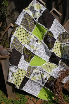 Rag Quilt Cotton Flannel Baby Flourish Butterfly Flower Lime Green Black Grey White. $56.00, via Etsy.