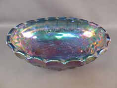 Indiana Glass Blue Carnival Glass  Footed Bowl