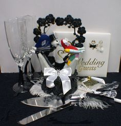 Nightmare before Christmas Wedding Cake topper Lot Glasses Server set Black Guest Book Halloween funny