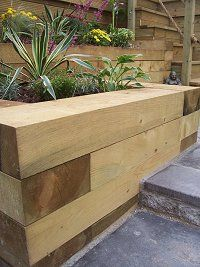 New Timber Retaining Wall Garden Raised Beds 39 Ideas Building A Raised Garden, Raised Garden Beds, Raised Beds, Oak Sleepers, Sleepers In Garden, Sleeper Retaining Wall, Garden Retaining Wall, Retaining Walls, Gardens