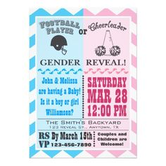 football cheerleader gender reveal invitation gender reveal shower - Gender Reveal Baby Shower