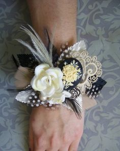 Wedding Wrist Corsage Vintage Inspired by EmilyKBotanicStudio