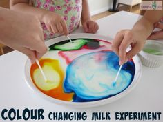Colour Changing Milk Experiment - Science Fun for Kids by Learning 4 Kids