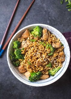 This is a basic recipe for a 20 minute stir-fry with chicken, broccoli, and ramen noodles. It's also totally adaptable. Don't eat chicken? Cubed tofu works great! Have other vegetables you prefer or need to use - swap them out for broccoli.