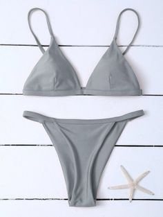 SHARE & Get it FREE   Low Waisted Spaghetti Strap Bikini Swimwear - GrayFor Fashion Lovers only:80,000+ Items • New Arrivals Daily Join Zaful: Get YOUR $50 NOW!